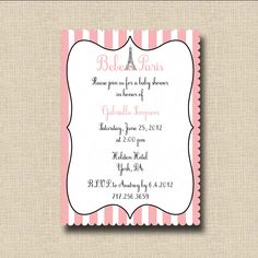 Bebe in Paris Baby Shower Invitation or French Pink Poodle in Paris Birthday Party Invitation - Printable. $12.00, via Etsy.