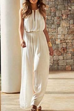 Stylish Round Neck Solid Color Hollow Out Sleeveless Jumpsuit For Women