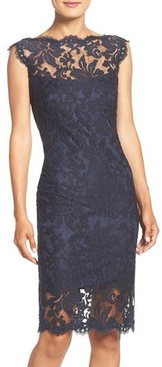 TADASHI SHOJI EMBROIDERED LACE SHEATH DRESS