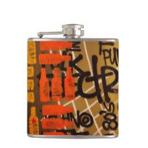 Yellow And Orange Beer Bottle Sketches—Flask, Vinyl Wrapped 6 oz