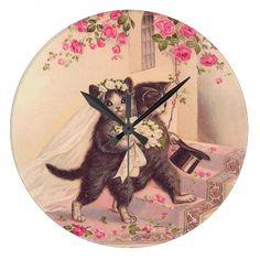 Vintage Cats Bride and Groom The Wedding Wallclock