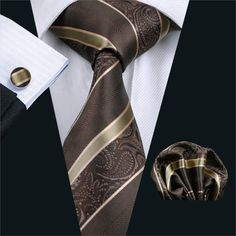 FA-506 Gents Necktie Brown Paisley 100% Silk Jacquard Tie Hanky Cufflinks Set Business Wedding Party Ties For Men Free Shipping