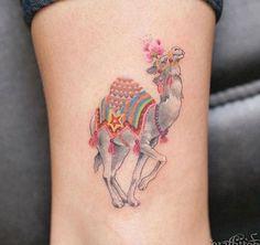Animal Tattoo Designs – Cute Camel Tattoo Design by Graffittoo Cute Ankle Tattoos, Ankle Tattoos For Women, Cute Tattoos, Creative Tattoos, Unique Tattoos, Beautiful Tattoos, Camel Tattoo, Anklet Tattoos, Tatoos