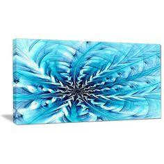 "DesignArt 'Light Blue Fractal Flower Pattern' Graphic Art Print on Wrapped Canvas Size: 20"" H x 40"" W x 1"" D"