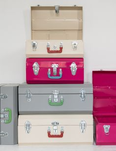 These are our latest favourite find and we've been waiting over 5 months for their arrival since spotting them in January. Made in India, these fun and stylish metal suitcases have mismatching plastic handles and would look great in your lounge, kitchen, bedroom or a childs room. We love practical and beautiful products at Rose
