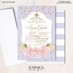 Invitaciones Flores de Primera Comunión - Confetti Dorado - Peonies - Lila y Dorado - Rayas