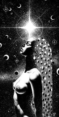 Illustration by Philippe Caza Op Art, Illustrations, Illustration Art, Art Visionnaire, Metal Magazine, Sacred Feminine, Arte Popular, Visionary Art, Psychedelic Art