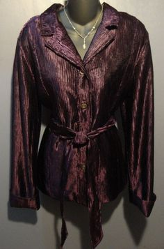 CHICO'S Incredible Perfectly Plum Purple Lightweight Jacket Sz 2 Chicos sizing #Chicos #BasicCoat