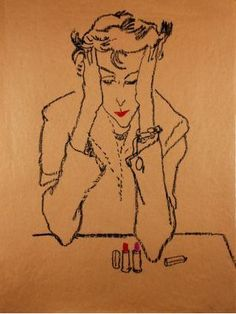 the right color lipstick is your best accessory...  Fashion Drawing by Jack Potter