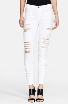 Frame Denim 'Le Color Rip' Skinny Jeans (Blanc) at Nordstrom.com, $199   Purposeful rips give a London-inspired grunge edge to skinny jeans cut from premium, L.A.-designed stretch denim.