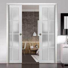 Double Pocket Door, Pocket Door Frame, Glass Pocket Doors, French Pocket Doors, Bathroom Pocket Door, Sliding Closet Doors, Sliding Pocket Doors, Modern Closet Doors, Double Closet Doors