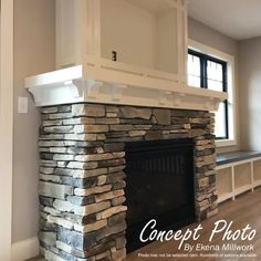 Stacked Rock Fireplace, Wood Mantle Fireplace, Stacked Stone Fireplaces, Fireplace Update, Rock Fireplaces, Farmhouse Fireplace, Home Fireplace, Fireplace Remodel, Living Room With Fireplace