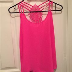 Hot pink tank top Strappy with back detail, worn once :) Tops Blouses