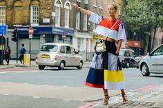 Daria Shapovalova at London Fashion Week in Anton Belinskiy dress by Tommy Ton