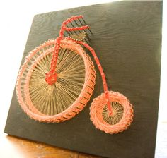 Vintage Bicycle String Art 70s Retro