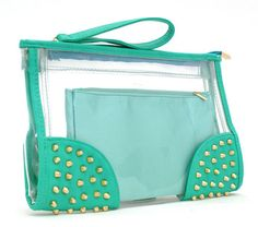 $25 WOMENS LADIES NEON PATENT TRANSPARENT PVC CLEAR STUDDED PURSE CLUTCH HANDBAG A52 | eBay