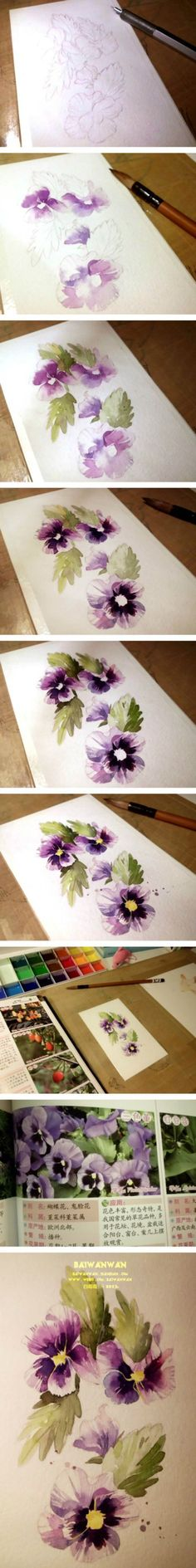 20 Delicate Colorful Watercolor Flower Painting Tutorials In Images-HOMESTHETICS…