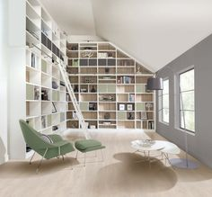 This modern library features floor to ceiling storage space as well as Bardolino oak backboards and a bespoke ladder. Modern Library Furniture, Bespoke Furniture, Handmade Furniture, Home Libraries, Bespoke Design, The Ranch, Home Renovation, Ideal Home, Shelving
