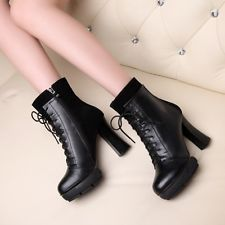 Chic Block Heeled Womens Stunning Black Lace Up Platform Punk Gothic Ankle Boots