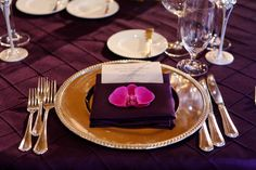 The Resort Pelican Hill - Flowers by Cina Purple Orchid Wedding, Purple Orchids, Gold Napkins, Tabletop, Table Decorations, Flowers, Inspiration, Biblical Inspiration, Table