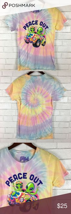 """👽 Lisa Frank 'Peace Out' Tie Dye Tee Aliens 👽 Lisa Frank 'Peace Out' Tie Dye Tee Aliens Size Med Groovy Hippie Retro 90's  Super Cute Bulls Eye Tie Dye Tee featuring Aliens riding in a groovy convertible! Let everyone know that you come in peace! ✌🏽Love Lisa Frank!  Condition: New Without Tags! No signs of wear! Size: M Measurements: Armpit to armpit: 16"""" Length: 26""""  Please follow me for more great items and sweet deals! Thank you for shopping! Lisa Frank Tops Tees - Short Sleeve"""