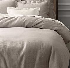 Vintage-Washed Belgian Linen Duvet Cover // RH // King Duvet 219 // Euro Shams 69 each // set 357 // Fog darkest color // limited colors