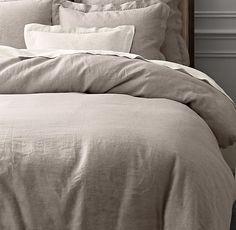 Vintage-Washed Belgian Linen Duvet Cover // RH // King Duvet 219 // Euro Shams 69 each // set 357 // Fog darkest color // limited colors