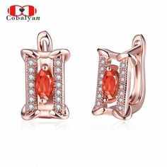 Top Quality Rose Gold Plated Concise Square Crystal CZ Zircon Women Girls Stud Hoop Jewelry Earrings Wholesale AKE157