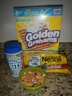 Remember that s'mores cereal that we used to eat as kids? I love it but I can't find it any more so I make my own with Golden Grahams cereal, mini marshmallows, and mini chocolate chips. My kids love it. You can also use these ingredients to make s'mores bars. Just make them the same way you would make rice crispy bars. When I make the s'mores bars I usually use the Nestle chocolate chunks instead of the mini chips just because I like to see big bits of chocolate in mine.