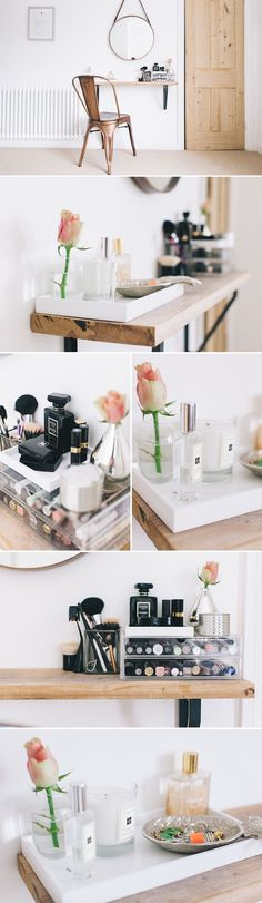Small space beauty station   Rustic shelf and industrial accents to store make-up and cosmetics.