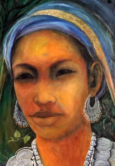 A tribal lady from Tripura has been brought alive in this portrait. The wholesome attributes and special attention has been given by the artist to the facial characters and detailings. Indian Artist, Mixed Media Painting, Medium Art, Modern Art, Mona Lisa, Facial, Characters, Portrait, Lady