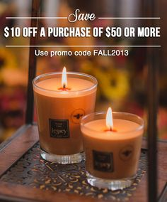 Just for you! Save $10 on your purchase of $50 or more at www.rootcandles.com! Limited time only!!!