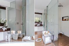 Un baño y un vestidor con todo el confort  Para sectorizar las diferentes áreas, se usó un panel de vidrio (San Isidro Cristales) al que se le adhirió un ploteo semiopaco (Diego Pasos). De ese modo, se logra un equilibrio entre división y continuidad.  /Daniel Karp