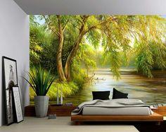 Tree River Bank Summer Landscape - Large Wall Mural, Self-adhesive Vinyl Wallpaper, Peel & Stick fabric wall decal