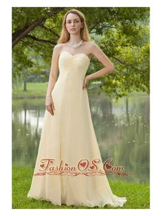 Champagne Empire Sweetheart Brush Train Chiffon Ruch Bridesmaid Dress- $107.69  http://www.fashionos.com  http://www.youtube.com/user/fashionoscom?feature=mhee   Simple and gorgeous prom dress, perfect for any occasion. It features a exquisite sweetheart neckline on the specially ruched bodice.The skirt is cut in the front from the waist. The gentle breeze blows to make the dress flirty. A hidden zipper up back finishes the look.