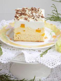 Izabela w kuchni: Ciasto z kremem budyniowym, z brzoskwiniami i cytrynową pianką. Baking Recipes, Cake Recipes, Polish Desserts, Food Cakes, Sweet Desserts, Vanilla Cake, Ale, Cheesecake, Sweets