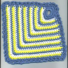 Here is my pattern for the domino dishcloth.  With worsted weight cotton yarn and size G hook, ch 8 and form a ring 22 sc in ring, join wi...