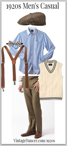7 Easy Men's Costumes Ideas Casual men's look can be worn with or without a pullover vest. Easy Men's Costumes Ideas Casual men's look can be worn with or without a pullover vest. men's look can be worn with or without a pullover vest. Trendy Fashion, Vintage Fashion, 1920s Mens Fashion Gatsby, Fashion Ideas, 1920s Mens Shoes, Mens 20s Fashion, Vintage Style, 1920s Mens Outfit, Style Fashion