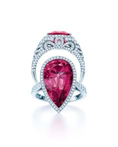 Tiffany & Co. Blue Book Collection red spinel ring, bottom, with diamonds set in platinum (£97,500) pictured with the Tiffany & Co. Blue Book Collection pink sapphire ring (top) with diamonds in platinum (£40,700).