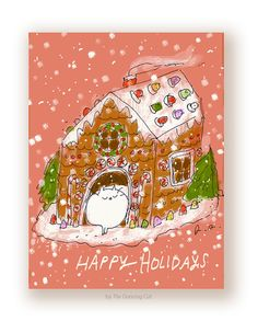 Happy Holidays  Cat Christmas Card  Gingerbread by jamieshelman