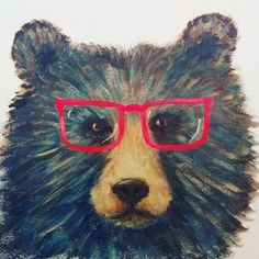 Da Bear with Glasses. Saturday 2pm CT Live #AcrylicPainting Tutorial #angelafineart | How to Paint a Grizzly with Acrylics | Free Acrylic Painting Lesson by Angela Anderson on YouTube | Hipster Woodland Bear Creature