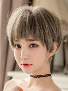 Single product: short hair 1101 wig Wig hairstyle: short straight hair Applicable object: Fashion female Hair material: high temperature wire Style: sweet and lovely Efficacy: Instantly change hairstyle Color classification: green wood linen gray Short Brown Hair, Very Short Hair, Short Straight Hair, Short Hair With Bangs, Short Hair Cuts, Hairstyles For Round Faces, Short Hairstyles For Women, Hairstyles With Bangs, Straight Hairstyles