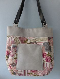 Butterfly/ Rose  Print and Grey Suede Handbag by anniewillows