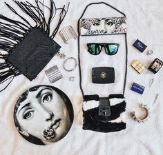 #flatlay#flatlays#fornasetti#chanel#sunnies#bags#blackleather#eddieborgo#emmkuo#nyc#homedecor#accessories#whatilove#hermescuff#style#ootd#bagoftheday#sundaystyle#sundayfunday