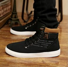 62dd6bb06 Details about Stylish Men Casual Lace Up High-top Sneakers Ankle Boots Flat  Buckle Shoes Lin