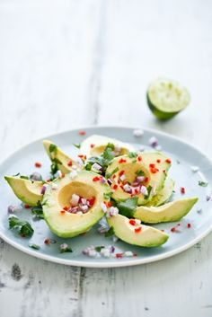 onion capsicum lime and coriander on avocados...yum!