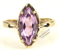 Estate 10K YELLOW GOLD Marquise Cut Purple AMETHYST Size 5.75 Vintage Ring #Unbranded #Solitaire