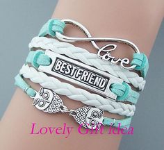 Owls bracelet Bestfriend bracelet Infinity bracelet Love word White leather mint string Silver charm Friendship jewelry Birthday gift by LovelyGiftidea, $4.99