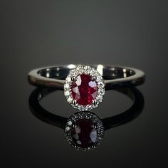 Platinum mounted claw set simple ruby and diamond cluster. Made in Chichester, England. Marquise Diamond, Diamond Cluster Ring, Oval Diamond, Diamond Pendant, Diamond Cuts, Cushion Cut Diamonds, Emerald Cut Diamonds, Princess Cut Diamonds, Chichester England