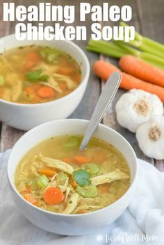 This easy-to-make Paleo Chicken Soup recipe is gluten-free, grain-free, and dairy-free, and is so delicious, even kids gobble it up and ask for more! It's packed with nutrients and healing herbs that (Paleo Recipes Easy) Paleo Chicken Soup, Paleo Soup, Recipe Chicken, Ginger Chicken Soup, Chicken Broth Soup, Bone Broth Soup, Chicken Soups, Chicken Soup For Colds, Chicken Bone Broth Recipe